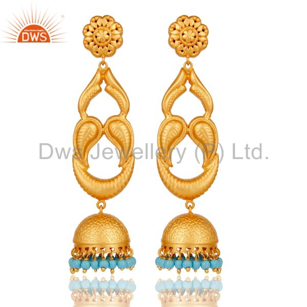 Turquoise Traditional Jhumka Earrings With 18k Gold Plated Sterling
