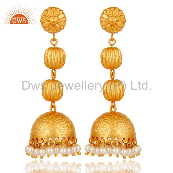 Tradional Pearl Jhumka Earrings With 18K Gold Plated With Sterling Silver