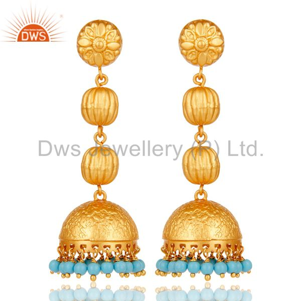 Traditional Handmade 925 Sterling Silver 18K Plated Turquoise Jhumka Earrings
