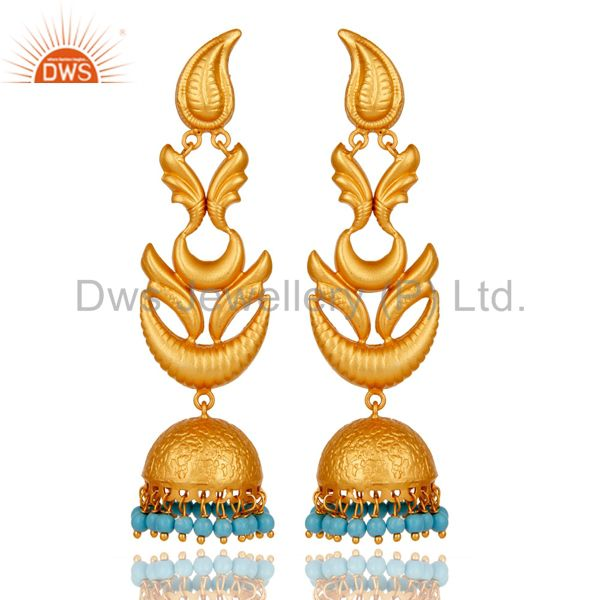 18K Gold Plated 925 Sterling Silver Traditional Bollywood Jhumka Earring