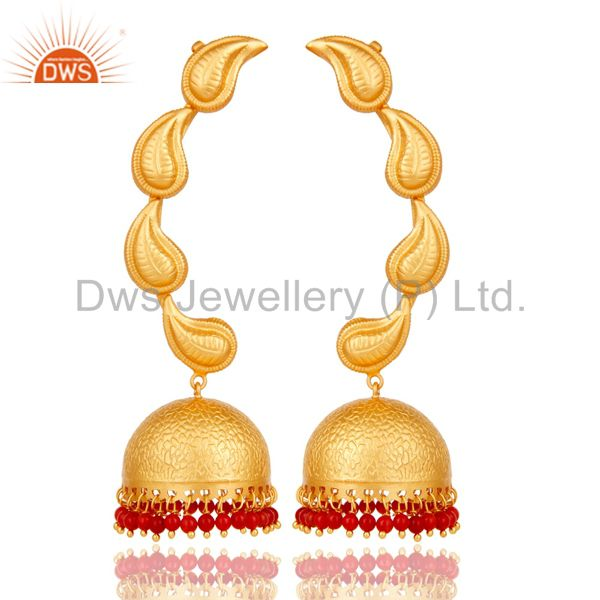 Traditional Jhumka Earrings 18k Gold Plated With Sterling Silver And Coral