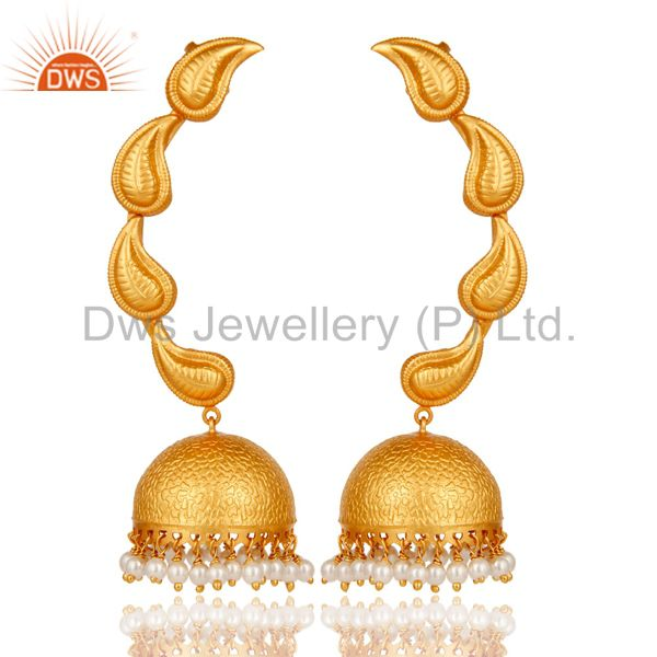 Traditional Jhumka Earrings 18k Gold Plated With Sterling Silver & Pearl