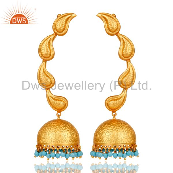 Traditional Jhumka Earrings 18k Gold Plated With Sterling Silver And Turquoise