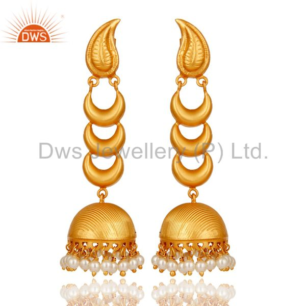 18k Gold Plated Traditional Jhumka Earrings With Sterling Silver And Pearl