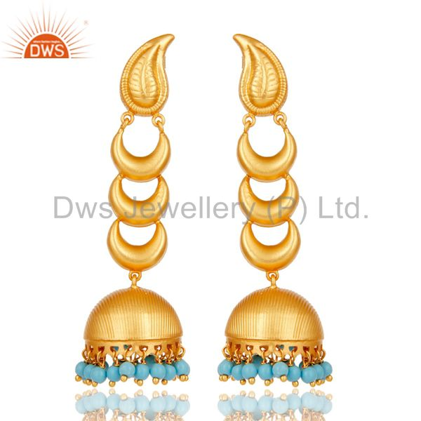 18k Gold Plated Traditional Jhumka Earrings With Sterling Silver & Turquoise