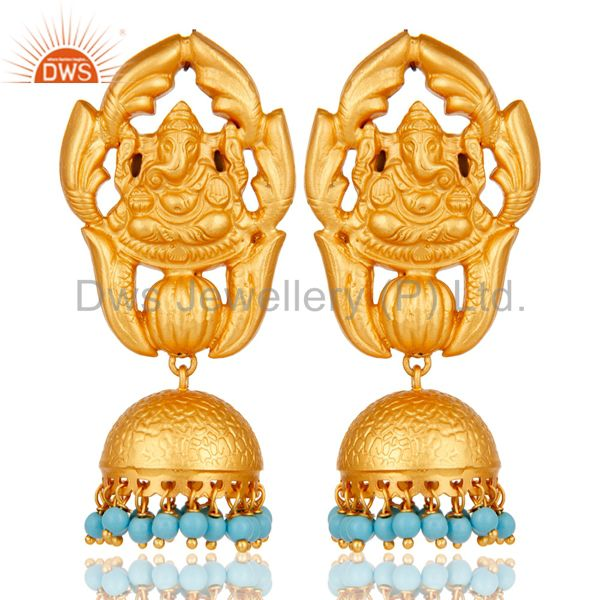 Turquoise Traditional Jhumka Earrings 18k Gold Plated Sterling Silver Ganesha