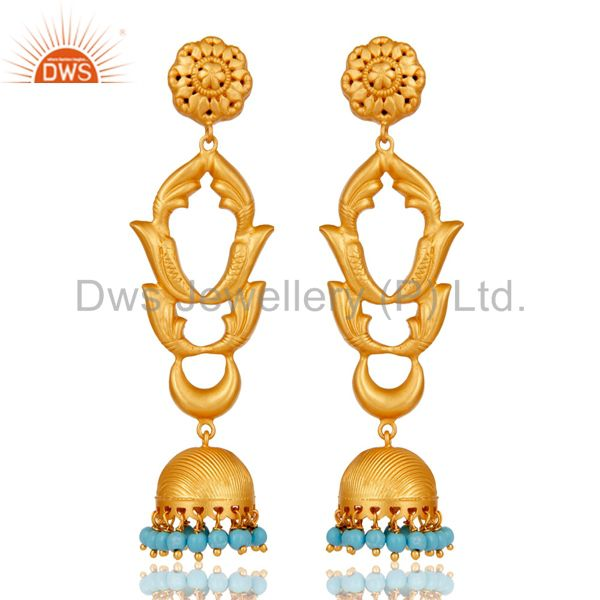 Turquoise Traditional Jhumka Earrings 18k Gold Plated With Sterling Silver