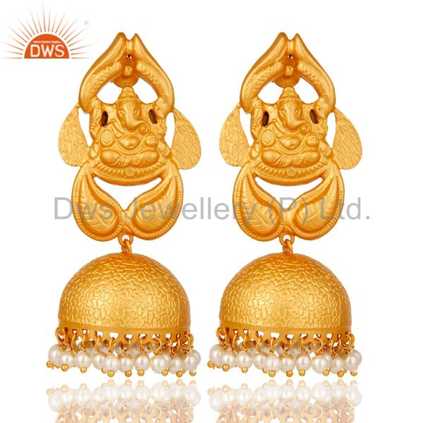 Pearl Traditional Jhumka Earrings 18k Gold Plated Sterling Silver Ganesh design