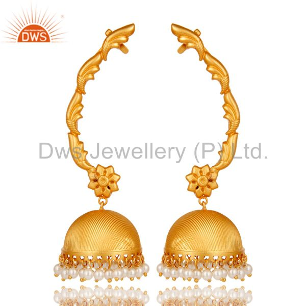 Traditional Jhumka Ear Cuff with 18K Gold Plated Sterling Silver and Pearl