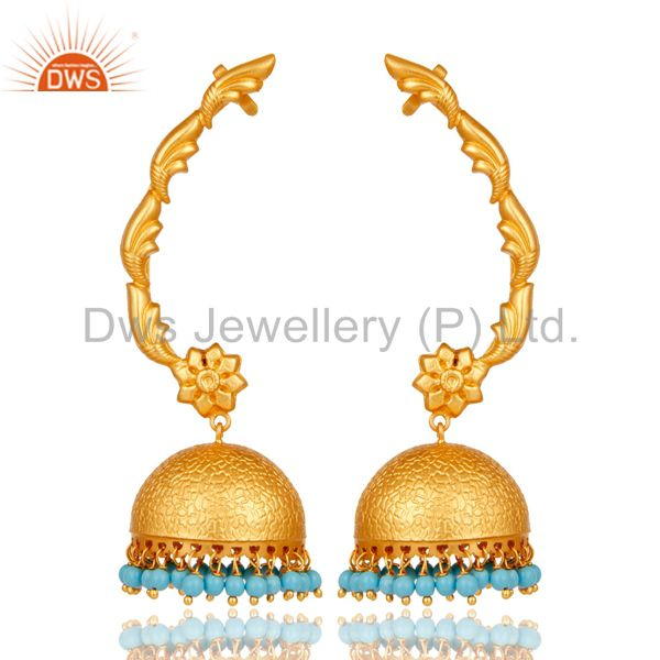 18K Gold Plated 925 Sterling Silver Ethnic Bollywood Turquoise Jhumka Ear Cuff