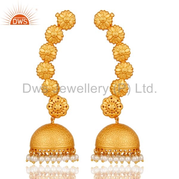 Ear Cuff Traditional Jhumka with 18K Gold Plated Sterling Silver and Pearl