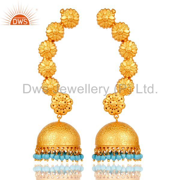 Ear Cuff Traditional Jhumka with 18K Gold Plated Sterling Silver and Turquoise