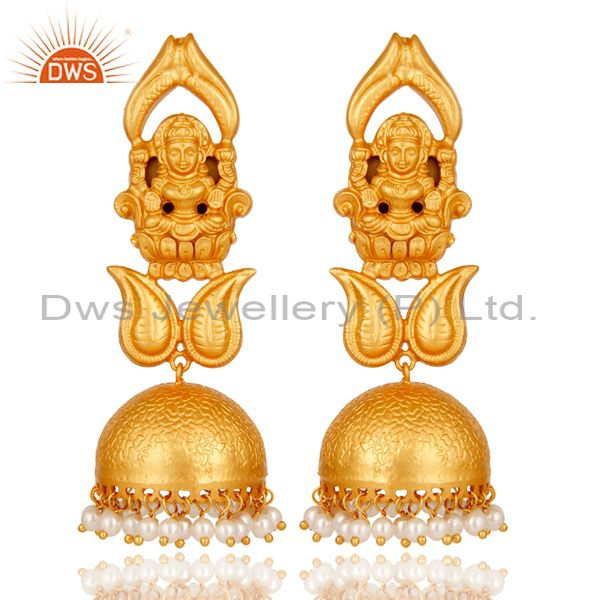 18k Gold Plated Traditional Jhumka Earrings with 925 Sterling Silverl & Pearl