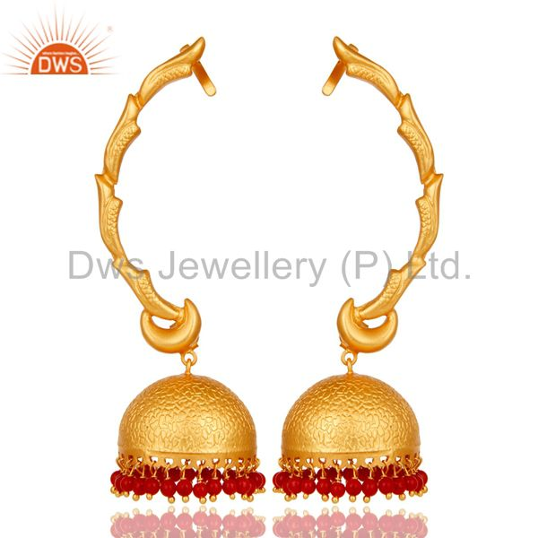 Ear Cuff Traditional Jhumka 18K Gold Plated Sterling Silver and Coral