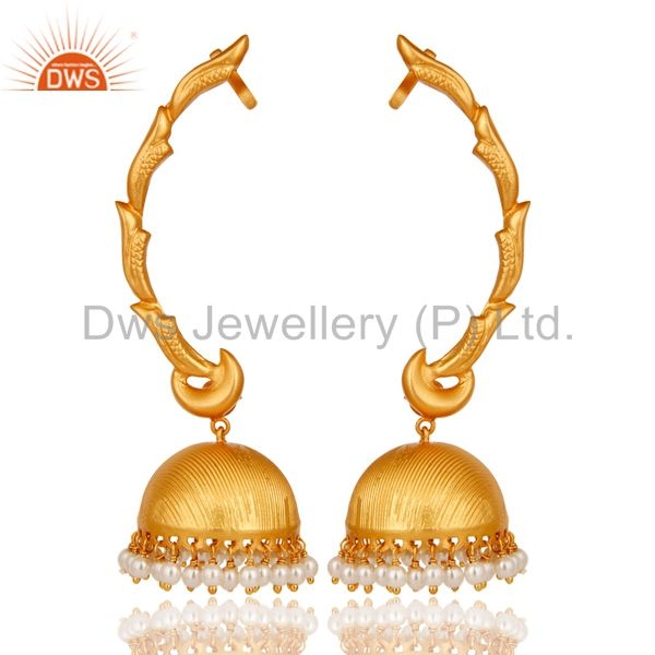 Ear Cuff Traditional Jhumka 18K Gold Plated Sterling Silver and Pearl