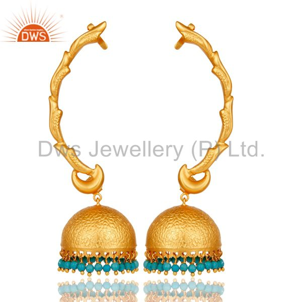 Ear Cuff Traditional Jhumka 18K Gold Plated Sterling Silver and Turquoise