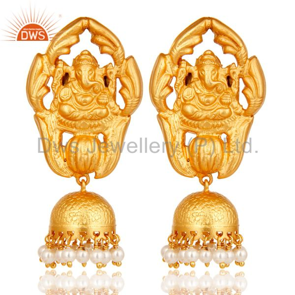18k Gold Plated Sterling Silver Natural Pearl Ganesh God Jhumka Earrings