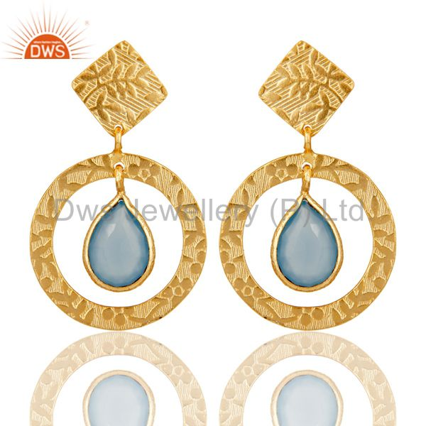 Handmade Traditional Sterling Silver Earrins with 18k Gold Plated & Chalcedony