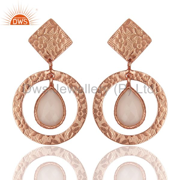 14K Rose Plated 925 Sterling Silver Dyed Chalcedony Bezel Set Drops Earrings
