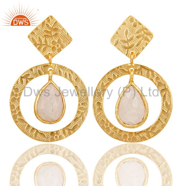 18K Gold Plated Sterling Silver Textured Rainbow Moonstone Bezel Set Earrings