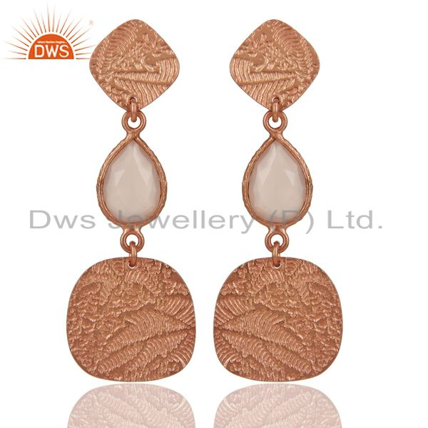 18k Rose Gold Plated 925 Sterling Silver Textured Dyed Chalcedony Dangle Earring