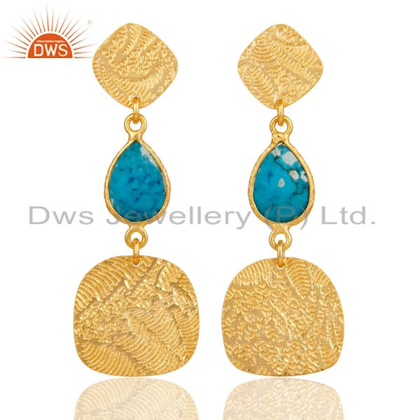 22k Gold Plated 925 Sterling Silver Textured Design Turquoise Dangle Earrings