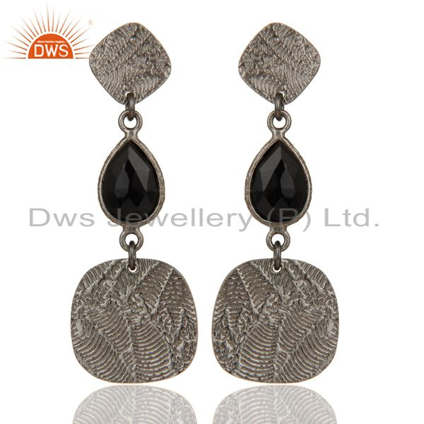 Black Oxidized 925 Sterling Silver Textured Design Black Onyx Dangle Earrings