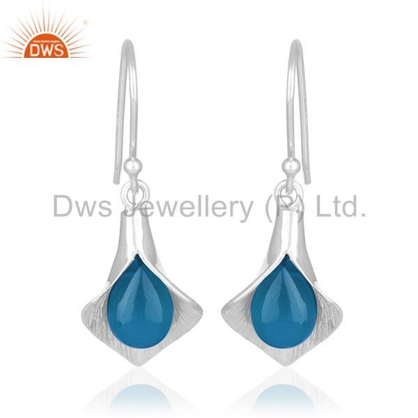 Blue Chalcedony Gemstone Sterling 92.5 Silver Designer Earrings Wholesale