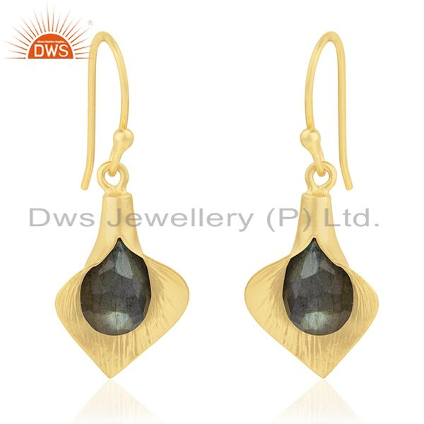 18k Yellow Gold Plated Sterling Silver Fashion Charming Gift Labradorite Earring