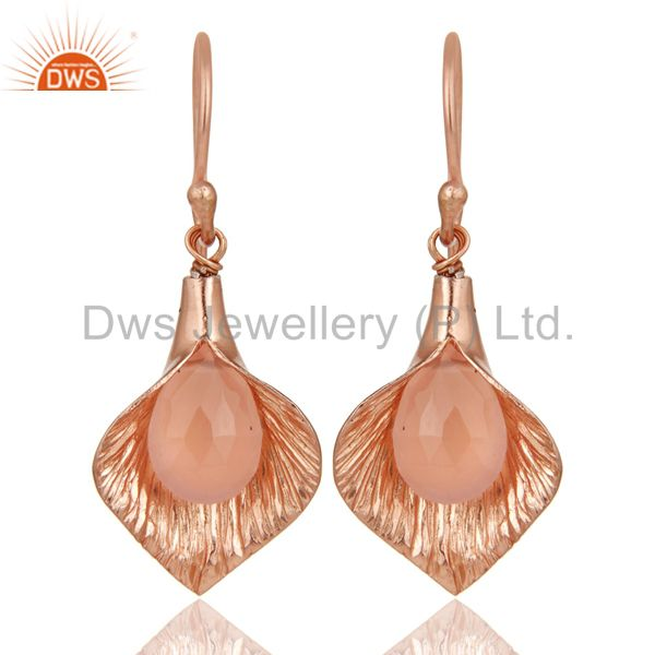 18K Rose Gold Plated Sterling Silver Fashion Charming Dyed Chalcedony Earrings