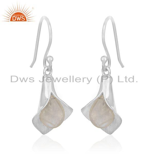 Rainbow Moonstone 925 Silver Floral Design Drop Earrings Supplier from India