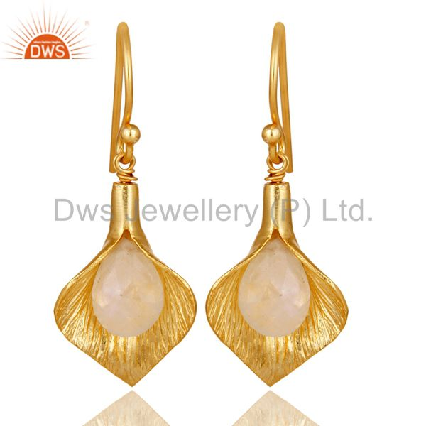 18k Yellow Gold Plated Sterling Silver Fashion Charming Gift Moonstone Earring