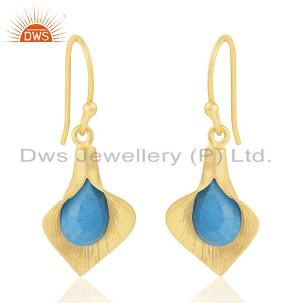 18k Yellow Gold Plated Sterling Silver Fashion Charming Gift Turquoise Earrings