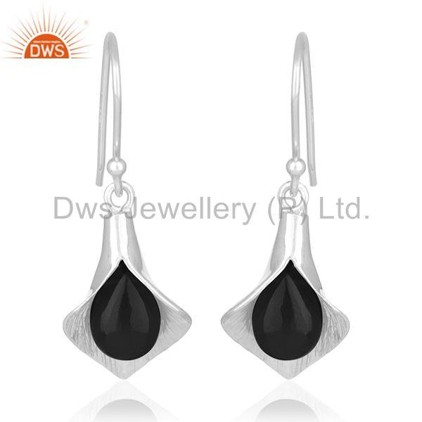 White Rhodium Plated 925 Silver Black Onyx Gemstone Floral Earrings Wholesale