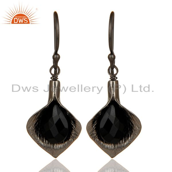 18k Yellow Gold Plated Sterling Silver Fashion Charming Gift Black Onyx Earrings