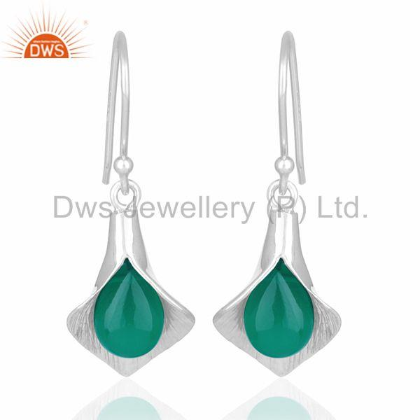 Floral Design Silver Onyx Gemstone Custom Design Earring Jewelry Manufacturers