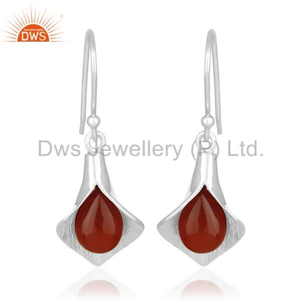 Onyx Gemstone Floral Design Silver Private Label Earring Jewelry Manufacturer