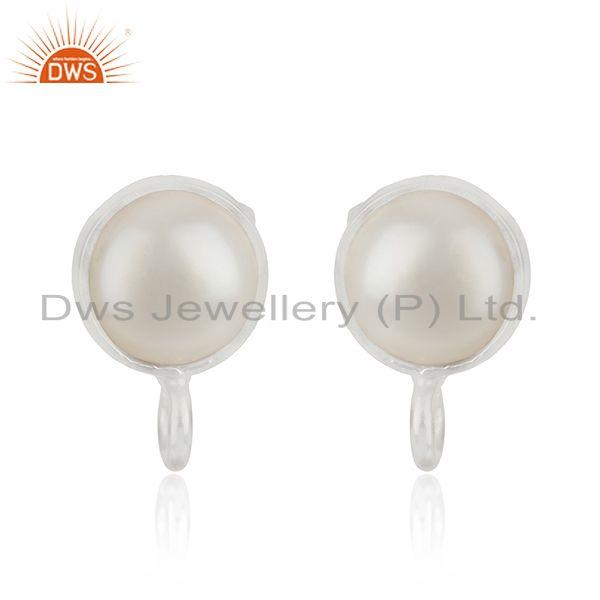 Handmade Fine Silver Plated White Pearl Stud Earrings Jewelry Findings Supplier