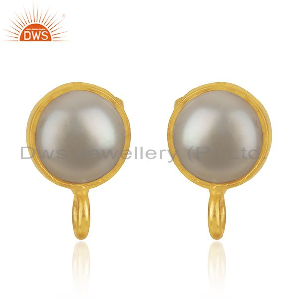 18K Yellow Gold Plated Traditional Handmade Pearl Studs Brass Earrings Jewelry