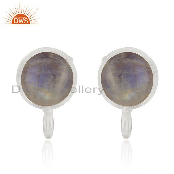 Silver Plated Brass Rainbow Moonstone Stud Earrings Jewelry Findings Wholesale