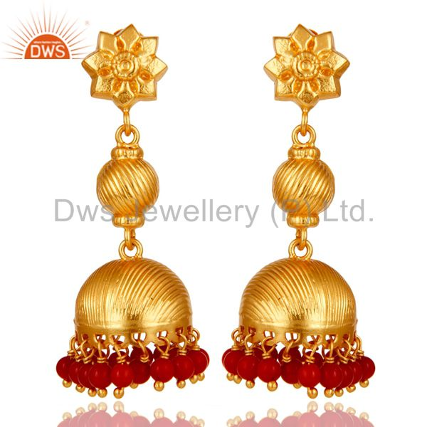 24K Gold Plated 925 Sterling Silver Handmade Red Coral Jhumka Earrings Jewelry