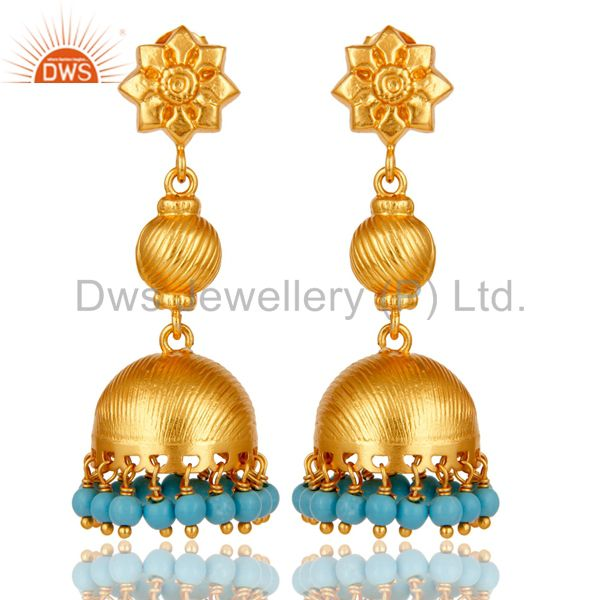 Flower Carving Jhumka Earrings with 18k Gold Plated Sterling Silver & Turquoise
