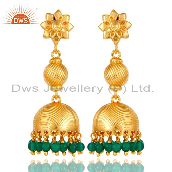 Flower Carving Jhumka Earrings with 18k Gold Plated Sterling Silver & Green Onyx