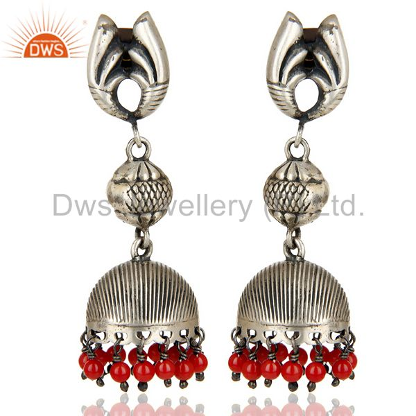 Black Oxidized 925 Sterling Silver Red Coral Jhumka Earrings Wedding Jewelry