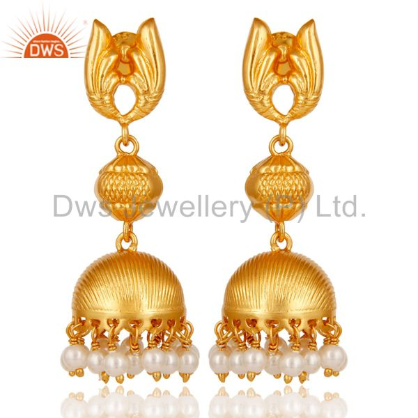 18k Gold Plated Sterling Silver Traditional Jhumka Earrings with Pearl