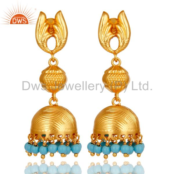 18k Gold Plated Sterling Silver Traditional Jhumka Earrings with Turquoise