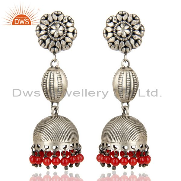 Oxidized 925 Sterling Silver Handmade Flower Design Red Coral Jhumka Earrings