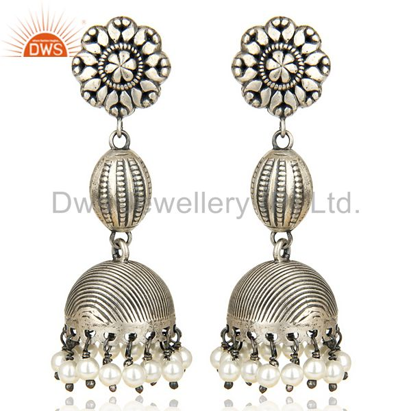Oxidized 925 Sterling Silver Handmade Flower Design Pearl Beads Jhumka Earrings