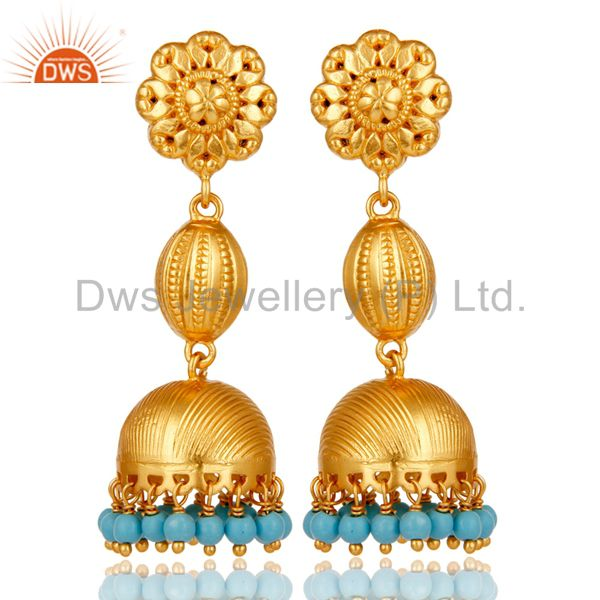 18k Gold Plated 925 Sterling Silver Traditional Design Jhumka Turquoise Earrings