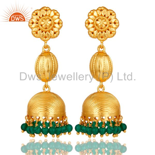 18k Gold Plated Sterling Silver Traditional Jhumka Earrings with Green Onyx